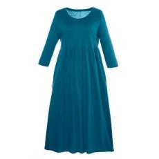 Große Größen Ulla Popken Damen  Kleid, Jersey, 3/4-Ärmel, bis Gr. 66/68, Blau, Gr. 46/48,54/56,58/60,62/64