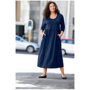 Große Größen Ulla Popken Damen  Kleid, Jersey, 3/4-Ärmel, Relaxed, bis Gr. 66/68, Blau, Gr. 42/44,46/48,50/52,54/56,58/60,62/64,66/68