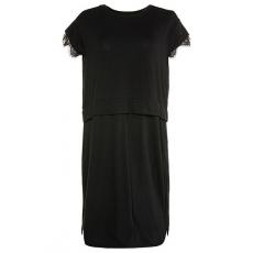 Große Größen Ulla Popken Damen  Kleid, Jersey, oversized, kurze Ärmel mit Spitze, Studio Untold, Schwarz, Gr. 42,46,44,48,50,52,54