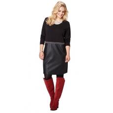 Große Größen Ulla Popken Damen  Kleid, Lederimitat unten, Jersey oben, lange Ärmel, Zierband, Schwarz, Gr. L,XL