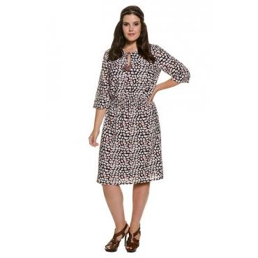 Große Größen Ulla Popken Damen  Kleid, Leo-Muster, breiter Rundhalsausschnitt, 3/4-Arm, Mehrfarbig, Gr. 42,44,46,48,50,52,54