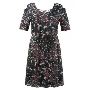 Große Größen Ulla Popken Damen  Kleid, Schulter-Ausschnitt, Schnürung hinten, V-Ausschnitt, Halbarm, Mehrfarbig, Gr. 42,52,54,44,46,48,50,56,58
