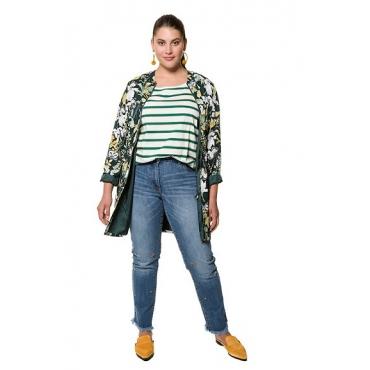 Studio Untold Damen  Longjacke, Schmetterlingsmuster, Zipper, Tailentunnel, Langarm, Futter, mehrfarbig, Gr. 52, Mode in großen Größen