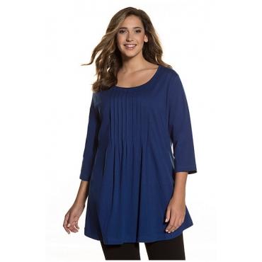 Ulla Popken Damen  Longshirt, A-Line, 3/4-Ärmel, Relaxed, bis Gr. 66/68, blau, Gr. 46/48, Mode in großen Größen