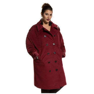 Studio Untold Damen  Mantel, Kontrastfutter, Oversized, doppelte Knopfreihe, weinrot, Gr. 48, Mode in großen Größen