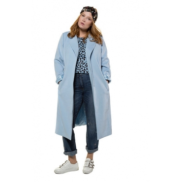 Studio Untold Damen  Mantel, Wolloptik, Revers, Langarm, hellblau, Gr. 48, Mode in großen Größen