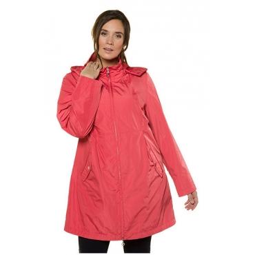 Ulla Popken Damen  Jacke, drapierter Kragen, Tunnelzug, Kapuze, selection, rhabarber, Gr. 42/44, Mode in großen Größen