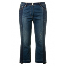Große Größen Ulla Popken Damen  Patch-Jeans, Sammy, asymmetrischer Fransensaum, wadenlang, Blau, Gr. 42,44,46,48,50,52,54,56,58,60,62