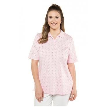 Ulla Popken Damen  Poloshirt, Punkte, Classic, Pima-Baumwolle, rosé, Gr. 58/60, Mode in großen Größen