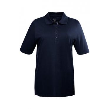 Ulla Popken Damen  Poloshirt, Samtband, Regular, Pikeequalität, marine, Gr. 58/60, Mode in großen Größen