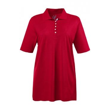 Ulla Popken Damen  Poloshirt, Regular, Samtband-Knopfleiste, Pikeequalität, mohn, Gr. 58/60, Mode in großen Größen
