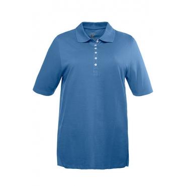 Ulla Popken Damen  Poloshirt, Samtband-Knopfleiste, Regular, Pikeequalität, 100% Baumwolle, dunkles meeresblau, Gr. 50/52, Mode in großen Größen