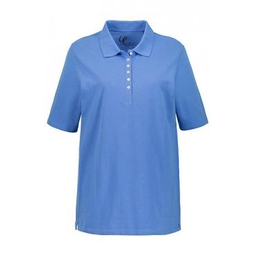 Ulla Popken Damen  Poloshirt, Samtband, Regular, Pikeequalität, poolblau, Gr. 50/52, Mode in großen Größen