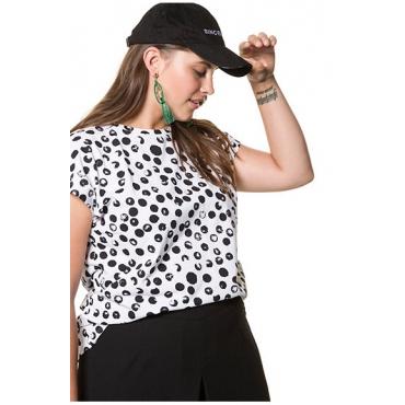 Studio Untold Damen  Punkte-Shirt mit überschnittener Schulter, weiß, Gr. 42/44, Mode in großen Größen
