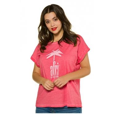 Studio Untold Damen  Shirt, AFRI COLA, cold dyed, Halbarm, Studio Untold, erdbeere, Gr. 46/48, Mode in großen Größen