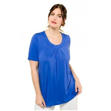 Ulla Popken Damen  Shirt, Ausschnitt mit Zierfalten, Halbarm, aquablau, Gr. 58/60, Mode in großen Größen
