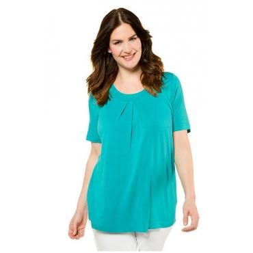 Ulla Popken Damen  Shirt, Ausschnitt mit Zierfalten, Halbarm, meerblau, Gr. 58/60, Mode in großen Größen