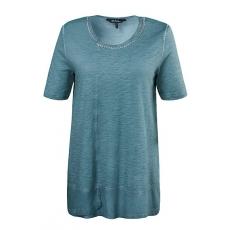 Große Größen Ulla Popken Damen  Shirt, Ausschnitt mit Zierkette, Zipfelsaum, oil dyed, Grün, Gr. 42/44,46/48,50/52,54/56,58/60