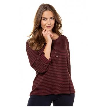 Ulla Popken Damen  Shirt, Doubleface-Qualität, Regular, Biobaumwolle, aubergine, Gr. 54/56, Mode in großen Größen