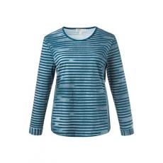 Große Größen Ulla Popken Damen  Shirt, Bio-Baumwolle, Streifen, seitliche Einsätze, Langarm, große Größen, Blau, Gr. 42/44,46/48,50/52,54/56,58/60