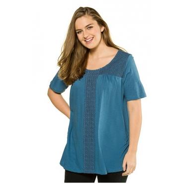 Ulla Popken Damen  Shirt, Biobaumwolle, PURE, puderblau, Gr. 50/52, Mode in großen Größen