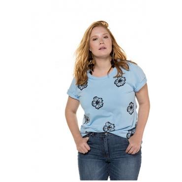 Studio Untold Damen  Shirt, Blüten aus Pailletten, Halbarm, hellblau, Gr. 50/52, Mode in großen Größen