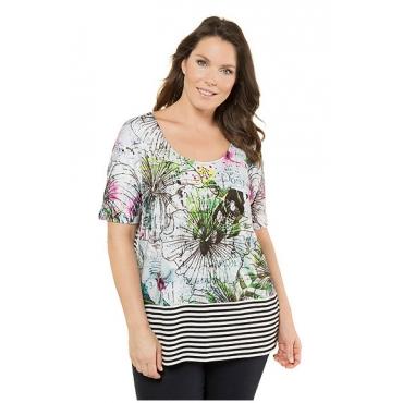 Große Größen Ulla Popken Damen  Shirt, Blüten-Design, Oversized, Streifen, Patchlook, Schwarz, Gr. 42/44,62/64,46/48,50/52,54/56,58/60