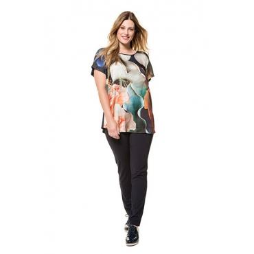 Ulla Popken Damen  Shirt, Blütendesign, Oversized, Rücken uni, Ziersteine, mehrfarbig, Gr. 58/60, Mode in großen Größen
