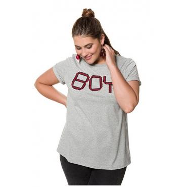 Studio Untold Damen  Shirt, BOY mit Zierperlen, Halbarm, hellgrau-melange, Gr. 50/52, Mode in großen Größen