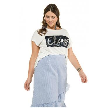 Studio Untold Damen  Shirt, Chicago aus Pailletten, Halbarm, weiß, Gr. 50/52, Mode in großen Größen