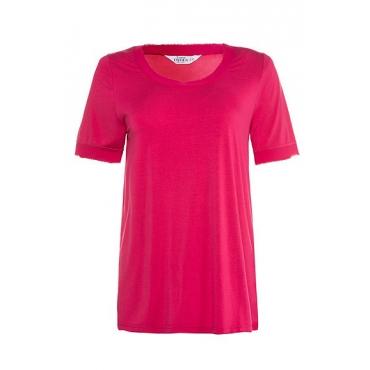 Studio Untold Damen  Shirt, Chiffon-Details, Web-Rücken, Halbarm, fuchsia, Gr. 42/44, Mode in großen Größen