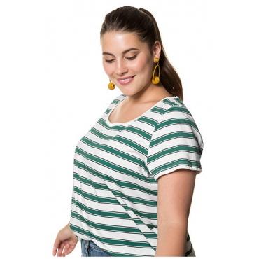 Studio Untold Damen  Shirt, College-Ringel, Saum hinten gerundet, Halbarm, mehrfarbig, Gr. 54/56, Mode in großen Größen