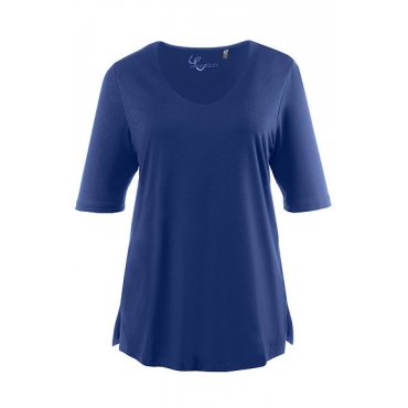 Ulla Popken Damen  Shirt, Stretchkomfort, Viskose-Crêpe, selection, royal, Gr. 58/60, Mode in großen Größen