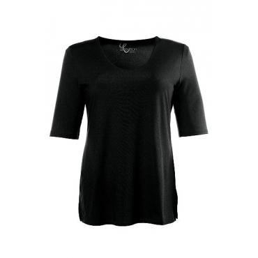 Ulla Popken Damen  Shirt, Stretchkomfort, Viskose-Crêpe, selection, schwarz, Gr. 58/60, Mode in großen Größen