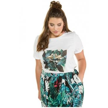 Studio Untold Damen  Shirt, Dschungel mit Flamingos, Halbarm, weiß, Gr. 54/56, Mode in großen Größen