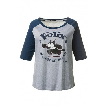 "Große Größen Ulla Popken Damen  Shirt, ""Felix the Cat""-Motiv, Raglanform, Grau, Gr. 42/44,62/64,46/48,50/52,54/56,58/60"