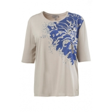 Große Größen Ulla Popken Damen  Shirt, Flockdruck, Pailletten-Design, Selection, helltaupe, Gr. 42/44,46/48,50/52,54/56,58/60