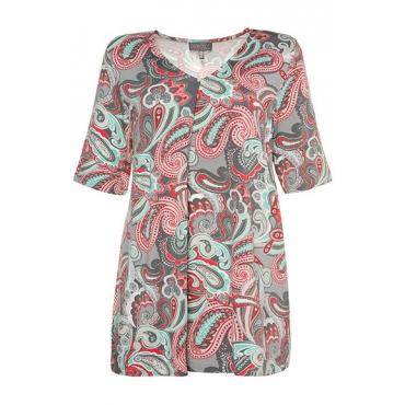 Große Größen Ulla Popken Damen  Shirt, gemustert, Classic, Zierfalte, V-Ausschnitt, Grau, Gr. 42/44,46/48,50/52,54/56,58/60,62/64