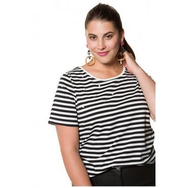 Studio Untold Damen  Shirt, geringelt, echte Zierperlen, Halbarm, schwarz, Gr. 54/56, Mode in großen Größen