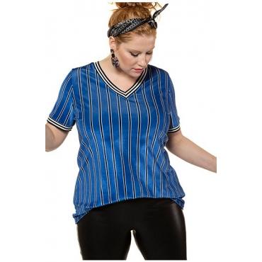 Studio Untold Damen  Shirt, gestreifter Samt, Streifenbündchen, Halbarm, mehrfarbig, Gr. 46/48, Mode in großen Größen