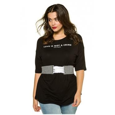 Studio Untold Damen  Shirt, Karogürtel, Longform, oversized, Halbarm, schwarz, Gr. 46/48, Mode in großen Größen