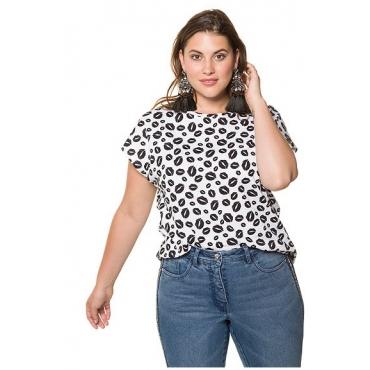 Studio Untold Damen  Shirt, Kussmund-Muster, gerundeter Saum, weiß, Gr. 54/56, Mode in großen Größen