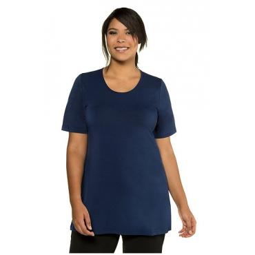 Große Größen Ulla Popken Damen  Shirt, Longform, A-Line, Halbarm, Stretchkomfort, Blau, Gr. 42/44,46/48,50/52,54/56,58/60,62/64,66/68