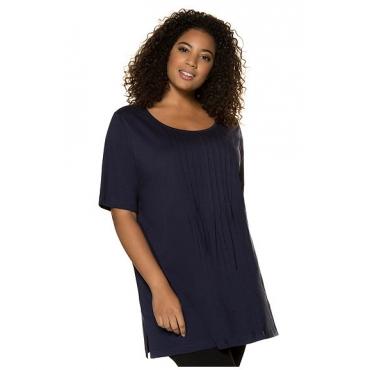 Große Größen Ulla Popken Damen  Shirt, Longform, Ausschnitt mit Biesen, Halbarm, Blau, Gr. 42/44,46/48,50/52,54/56,58/60,66/68