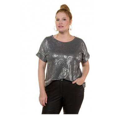 Studio Untold Damen  Shirt, Metallic-Rosen, überschnittene Schultern, anthrazit melange, Gr. 42/44, Mode in großen Größen