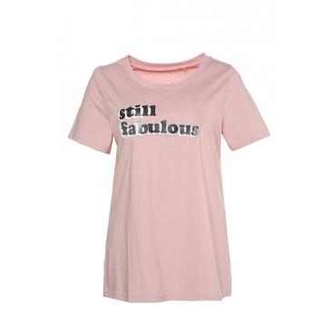 Studio Untold Damen  Shirt, Metallic-Schriftzug, Halbarm, altrosa, Gr. 50/52, Mode in großen Größen