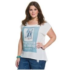 Große Größen Ulla Popken Damen  Shirt, Motto-Druck, fein strukturierter Krepp, oversized, Weiß, Gr. 42/44,46/48,50/52,54/56