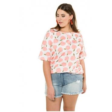Studio Untold Damen  Shirt, oversized, Pfirsich-Design, Halbarm, weiß, Gr. 54/56, Mode in großen Größen