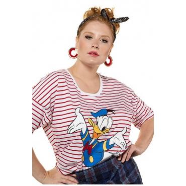 Studio Untold Damen  Shirt, oversized, geringelt, Donald Duck, Halbarm, tomatenrot, Gr. 42/44, Mode in großen Größen