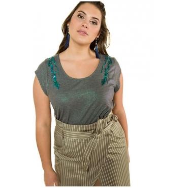 Studio Untold Damen  Shirt, Pailletten, Glanzeffekt, Halbarm, flaschengrün, Gr. 54/56, Mode in großen Größen
